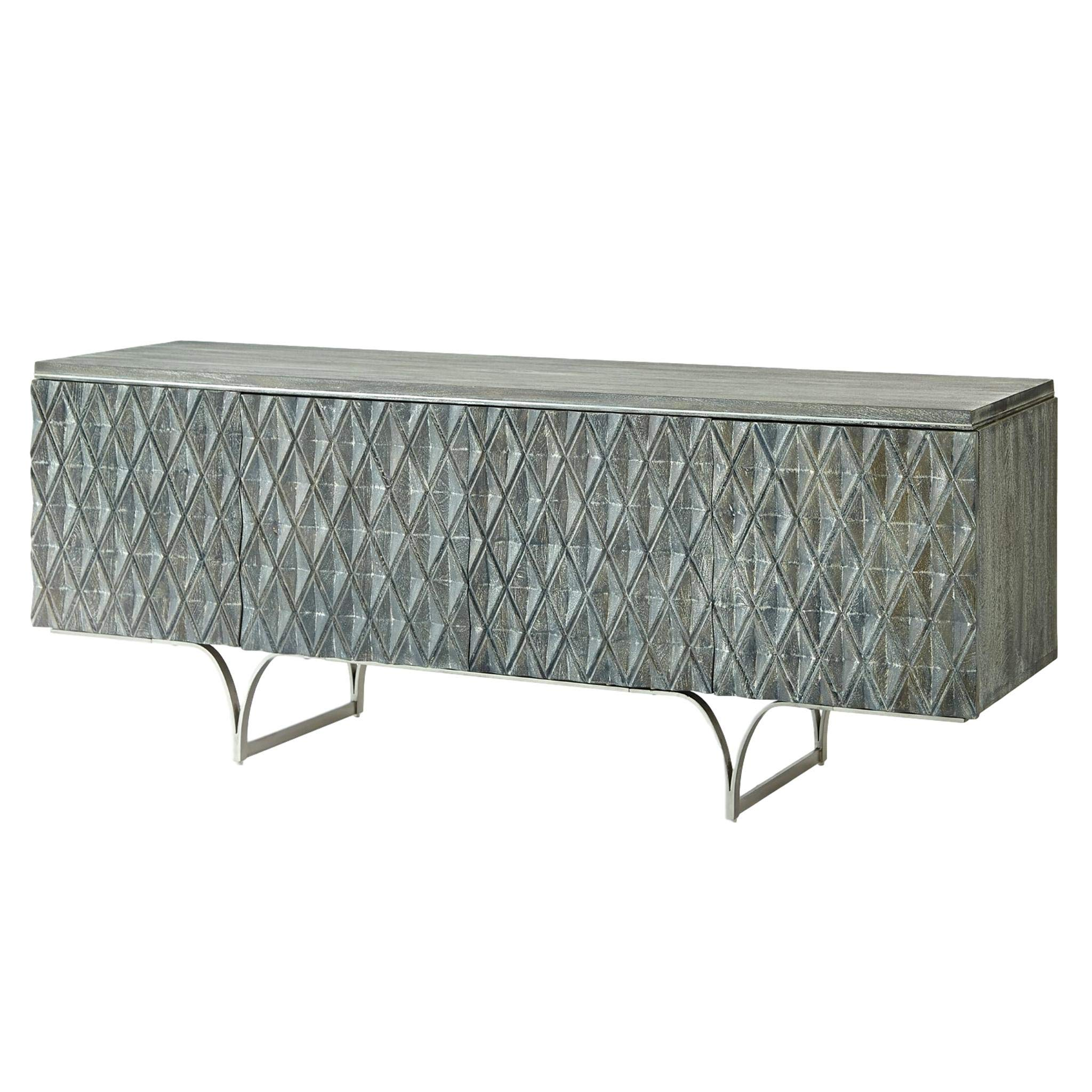 Global Views Carved Wood Diamond Harlequin Media Cabinet | Silver Gray Argyle Pattern Modern by Global Views