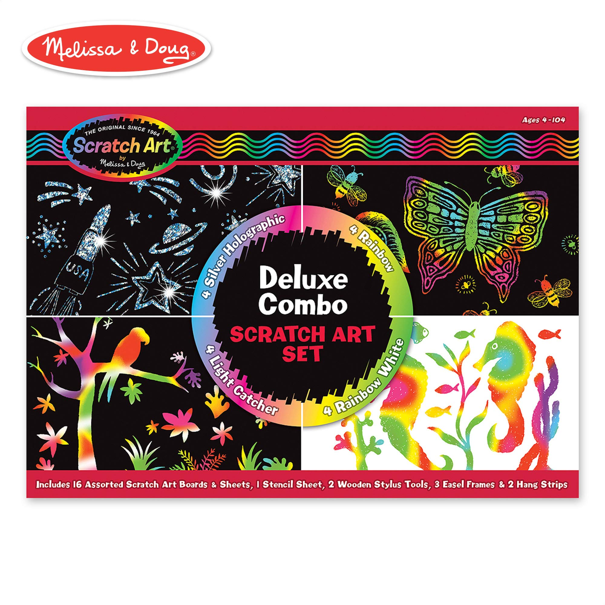 Melissa & Doug Scratch Art Deluxe Combo Set (Arts & Crafts, Hides Colors & Patterns, Easy to Use, Supplies for 16 Projects, 13.75'' H x 9.75'' W x 1.5'' L) by Melissa & Doug