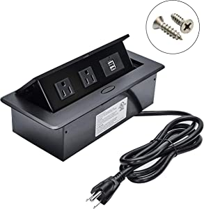 BTU UL Listed Hidden Outlet Connection Box Desktop Pop Up Socket with 2AC Outlet and 2 USB Charger for Conference Room Countertop (Black)