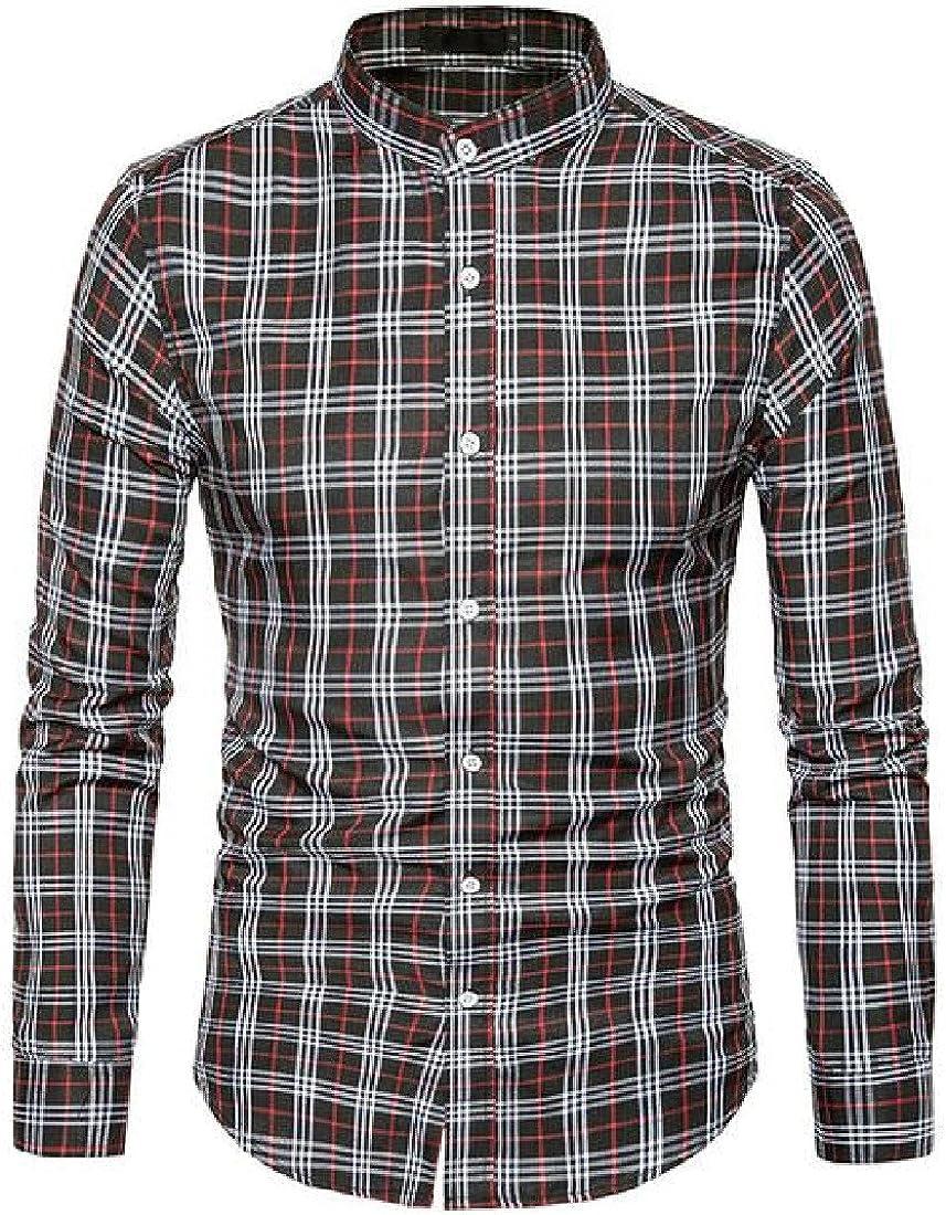 Winwinus Mens Turn-Down Collar Plaid Flannel Thin Long-Sleeve Work Shirt
