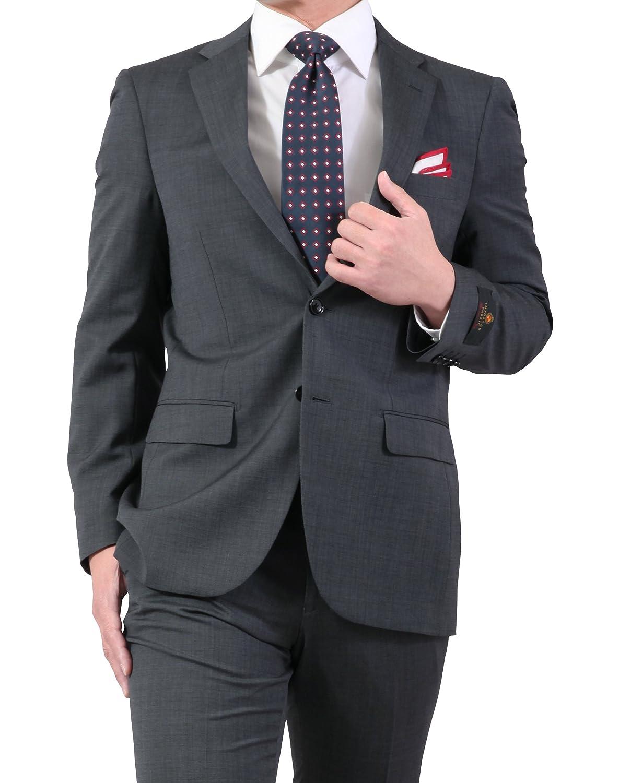 春夏 イタリア製ウール生地 アンジェリコ ( ANGELICO ) 程よくスリム 2ツボタン スーツ ビジネス スーツ B07B7HN7C7 AB体6号 チャコールグレー チャコールグレー AB体6号