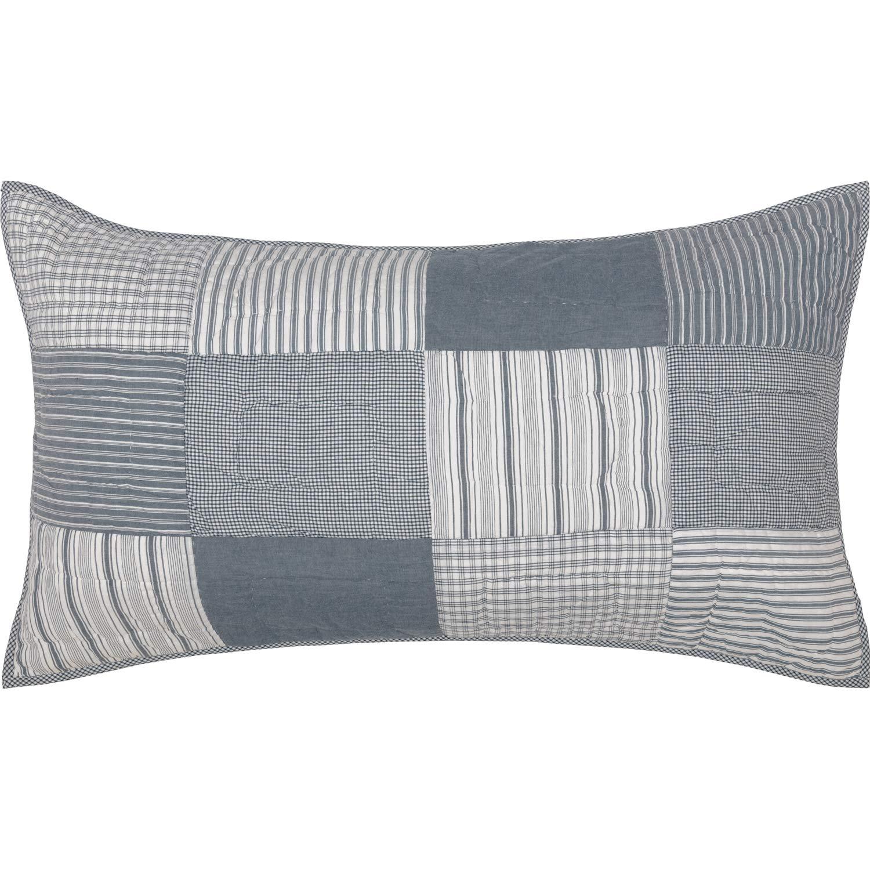 VHC Brands ファームハウス 寝具 ミラー ファーム チャコール コットン シャンブレー キング シャム ブルー デニム B07KQ5349V