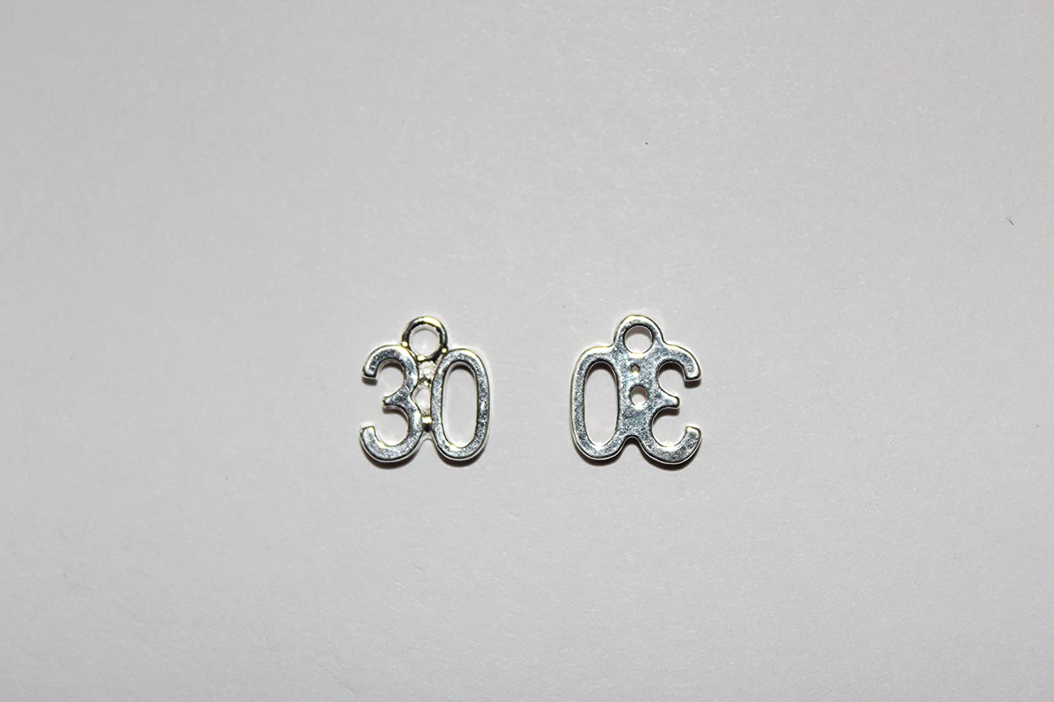 30th Sweet Treasure/® 10pcs silver plated Birthday Number Charms Pendants
