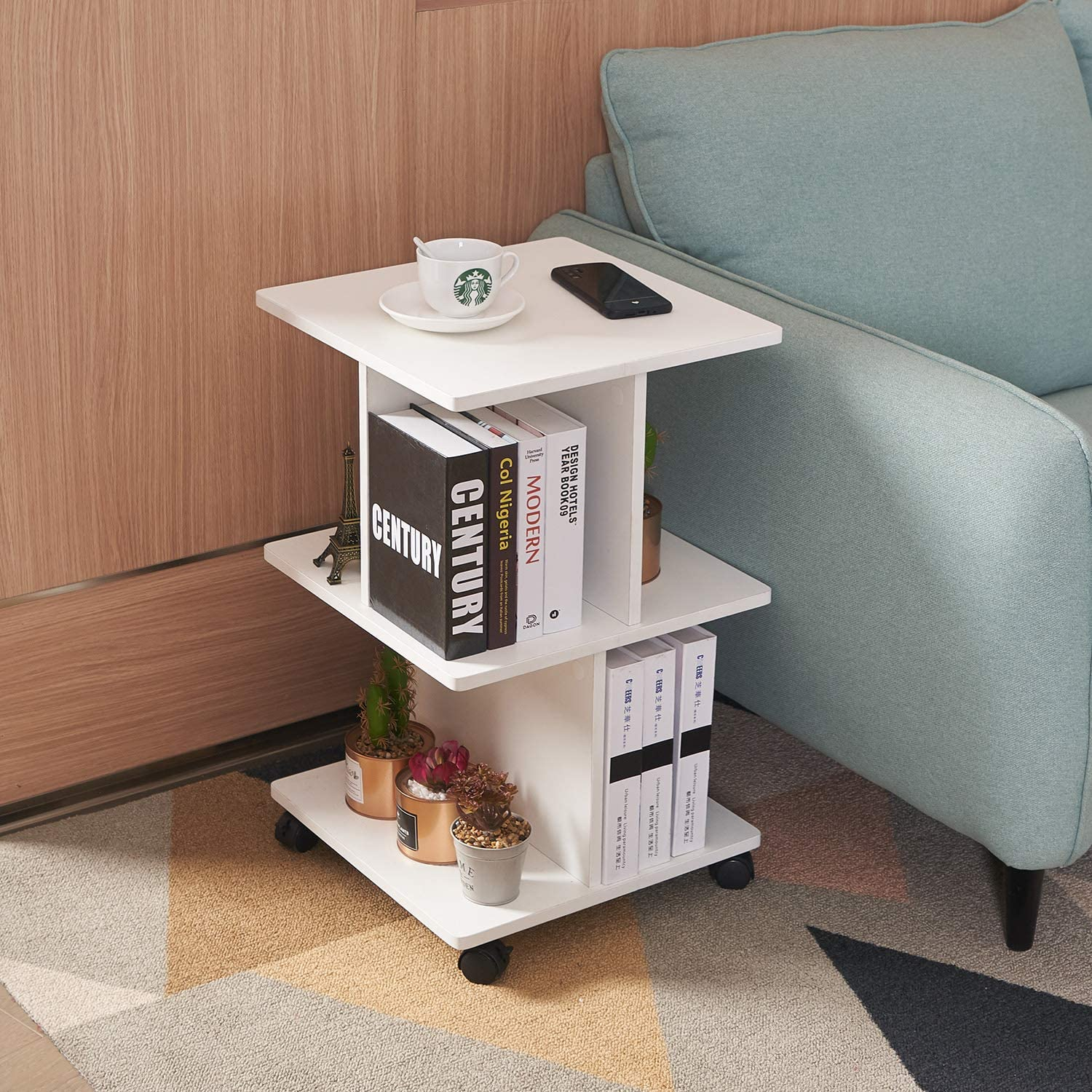 NXN-HOME Modern End Table 3 Tier Bedside Table Night Stand with Wheels and Storage Shelf for Living Room White Bedroom