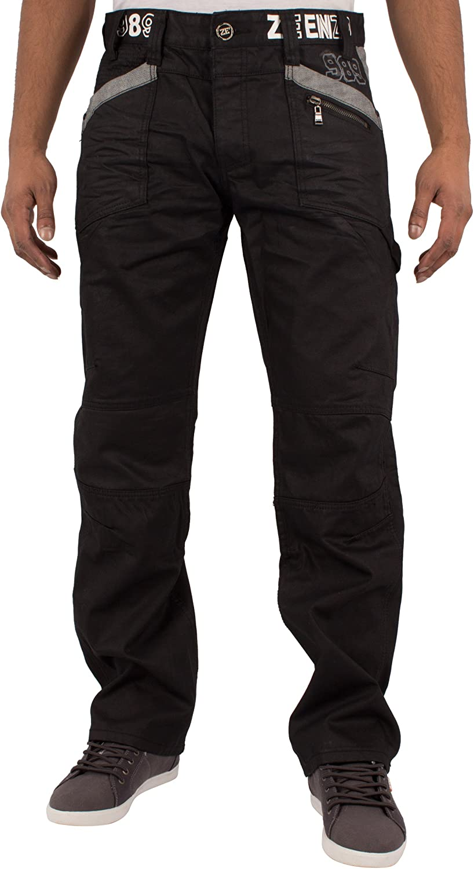 Men Coated Denim Jeans black trousers Straight Leg Slim Fit Trousers