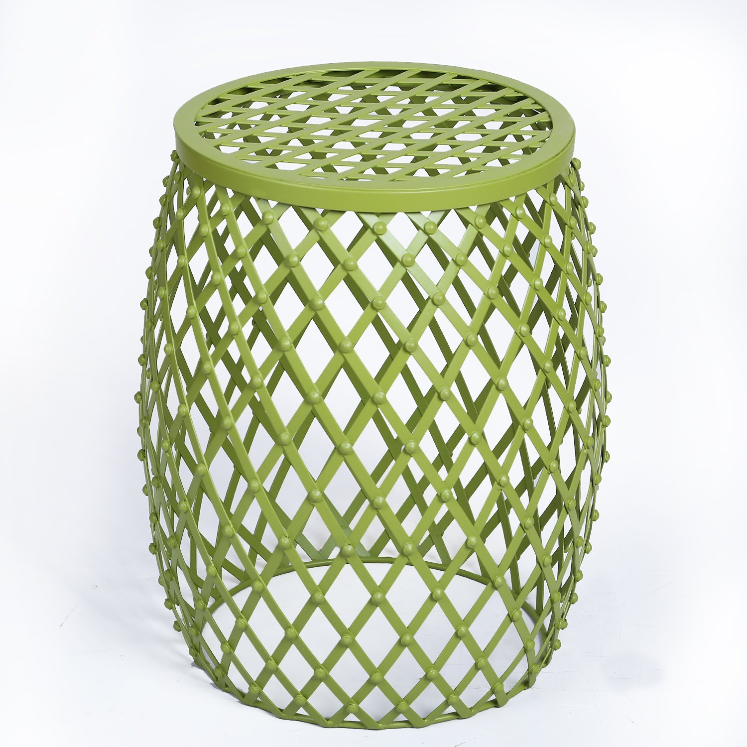 Adeco Home Garden Accents Wire Round Iron Metal Stool Side End Table Plant Stand, Hatched Diamond Pattern, for Indoor Outdoor, Olive Drab Green