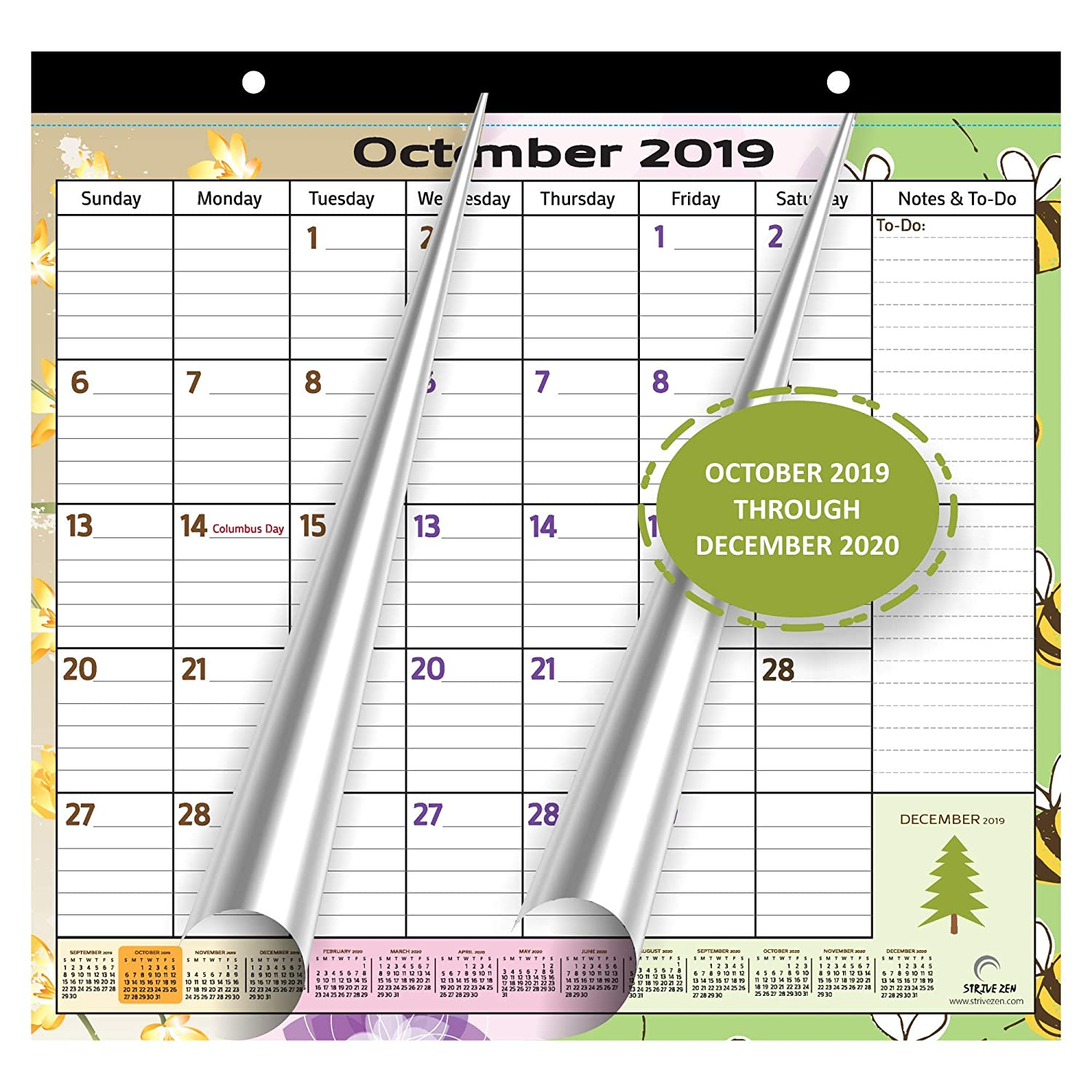 Magnetic Fridge Calendar 2019-2020 for by StriveZen, Monthly October 2019 -December 2020, Strong Magnets for Refrigerator, 10x10 Inch, Academic, Desktop, Gift, Teacher Family Busy Mom Office