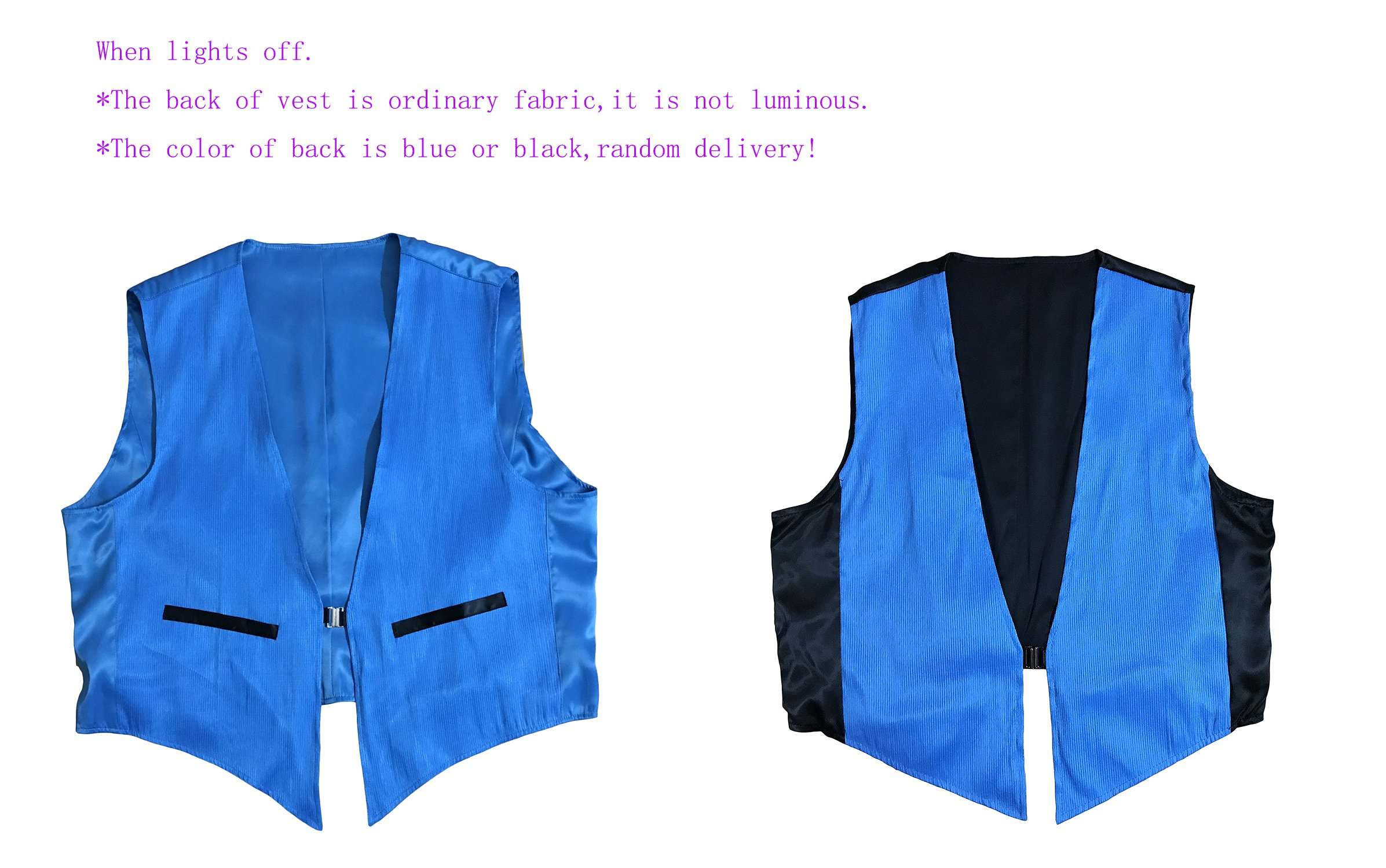 LED Fiber Optic Waistcoat Light up Vest for Men Fashion Glow in The Dark Luminous Vest (XL, Blue) by Fiber Optic Fabric Clothing (Image #6)