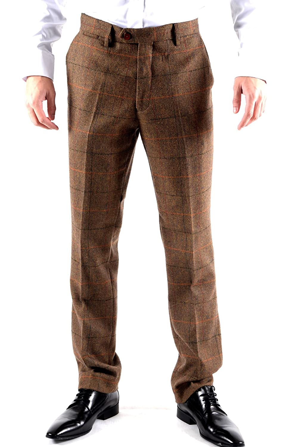 1920s Style Women's Pants, Trousers, Knickers Marc Darcy Mens Designer Tweed Tan Multi Tonal Check Print Tailored Trousers Size 28-46 Available £46.99 AT vintagedancer.com