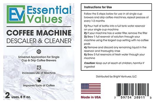Essential Values Descalcificador de Café para Delonghi, Keurig, Saeco, Bosch, Tossimo, Nespresso (Cada cafetera & una máquina de espresso) 2 paquetes ...