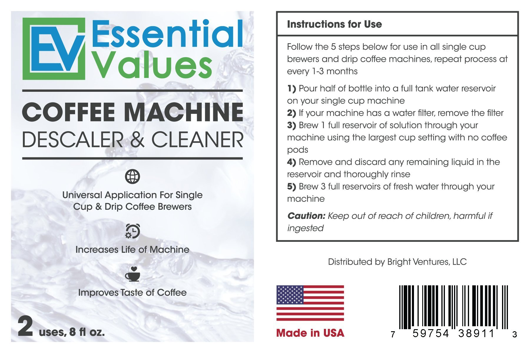 Essential Values Universal Descaler For Espresso and Keurig Coffee Machines, 2 Pack by Essential Values (Image #7)