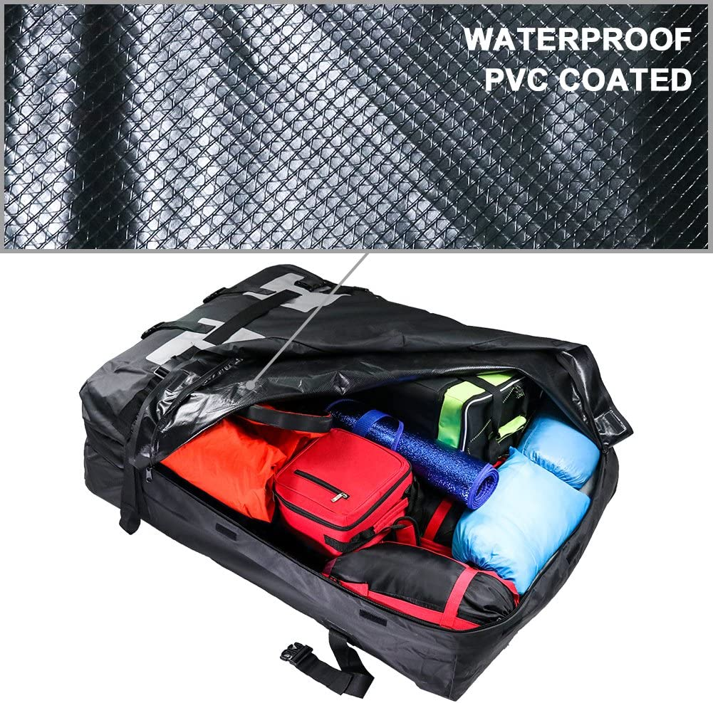 For Vehicles With Roof Rails 15 Cubic Feet TIROL Waterproof Roof Top Carrier Cargo Luggage Travel Bag