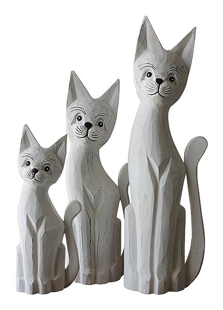Gato gatos juego de 3 madera 50 cm 40 cm 30 cm figura decorativa hecha a