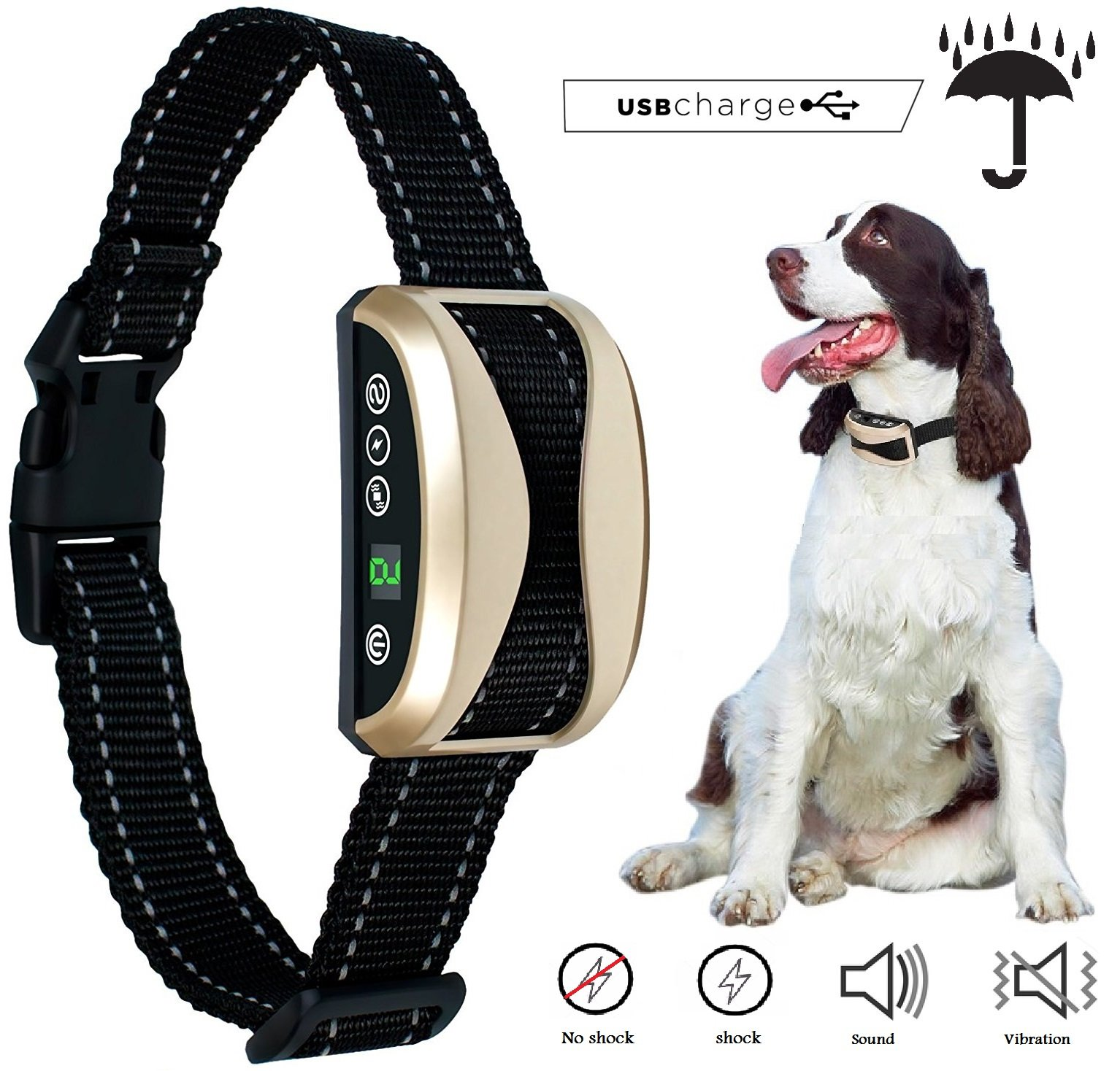 Winner360 [2018 NEW CHIP] No Bark Dog Collar Rechargeable Barking Control Collar Beep Vibration Safe Shock & Anti Bark, Reflective for Small Medium Large Dogs