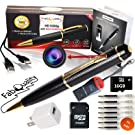 FabQuality 1080p HD Hidden Camera Spy Pen Bundle 16GB SD Micro Card + USB Card Reader + 7 Ink Fills + Updated Battery + USB Plug! - Record Executive Multifunction DVR