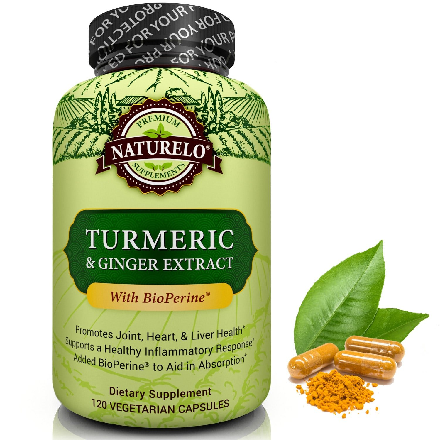 NATURELO Organic Turmeric Powder with Ginger Extract - Added BioPerine for Better Absorption - Best Anti Inflammatory Curcumin Supplement for Joint Pain Relief - 120 Capsules