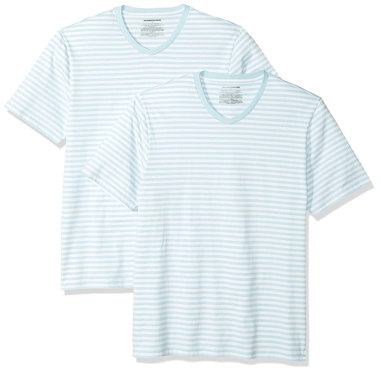 ac9884d85a Amazon.com: Amazon Essentials Men's Loose-fit Short-Sleeve Stripe V-Neck T- Shirts: Clothing