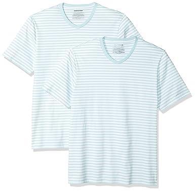 35051b8267 Amazon.com: Amazon Essentials Men's Loose-fit Short-Sleeve Stripe V ...