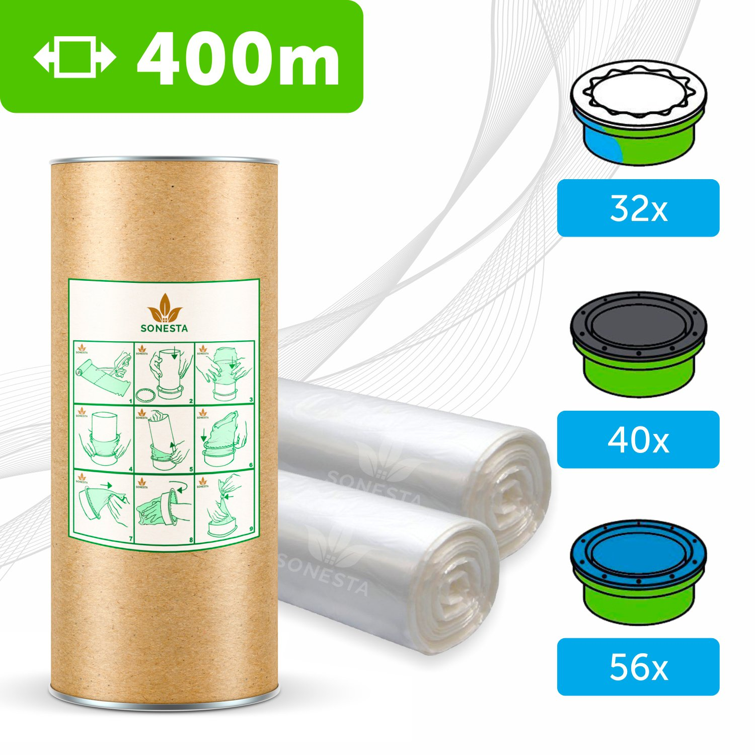 400m - ECO FRIENDLY liner compatible with Tommee Tippee Sangenic | Angelcare | Litter Locker II | Equivalent to 32 Sangenic fits all tubs + cardboard roll for easy refilling and storage SONESTA