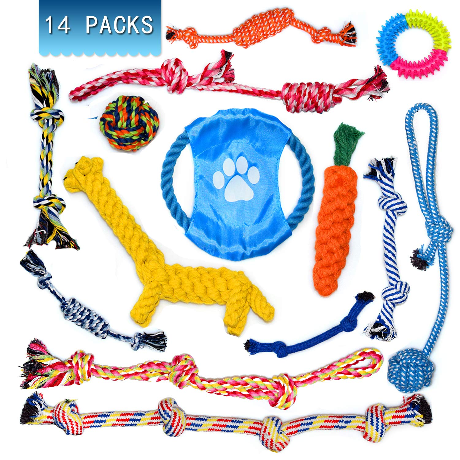 Puppy Chew Toys - 14 PCS Dog Rope Toys Set, Puppy Chew Durable Teething Cotton Toys Teeth Cleaning for Puppy Dogs(14 Pack)