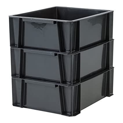 Iris Ohyama 135753, – Juego de 3 bandejas de almacenaje, plástico, Negro,