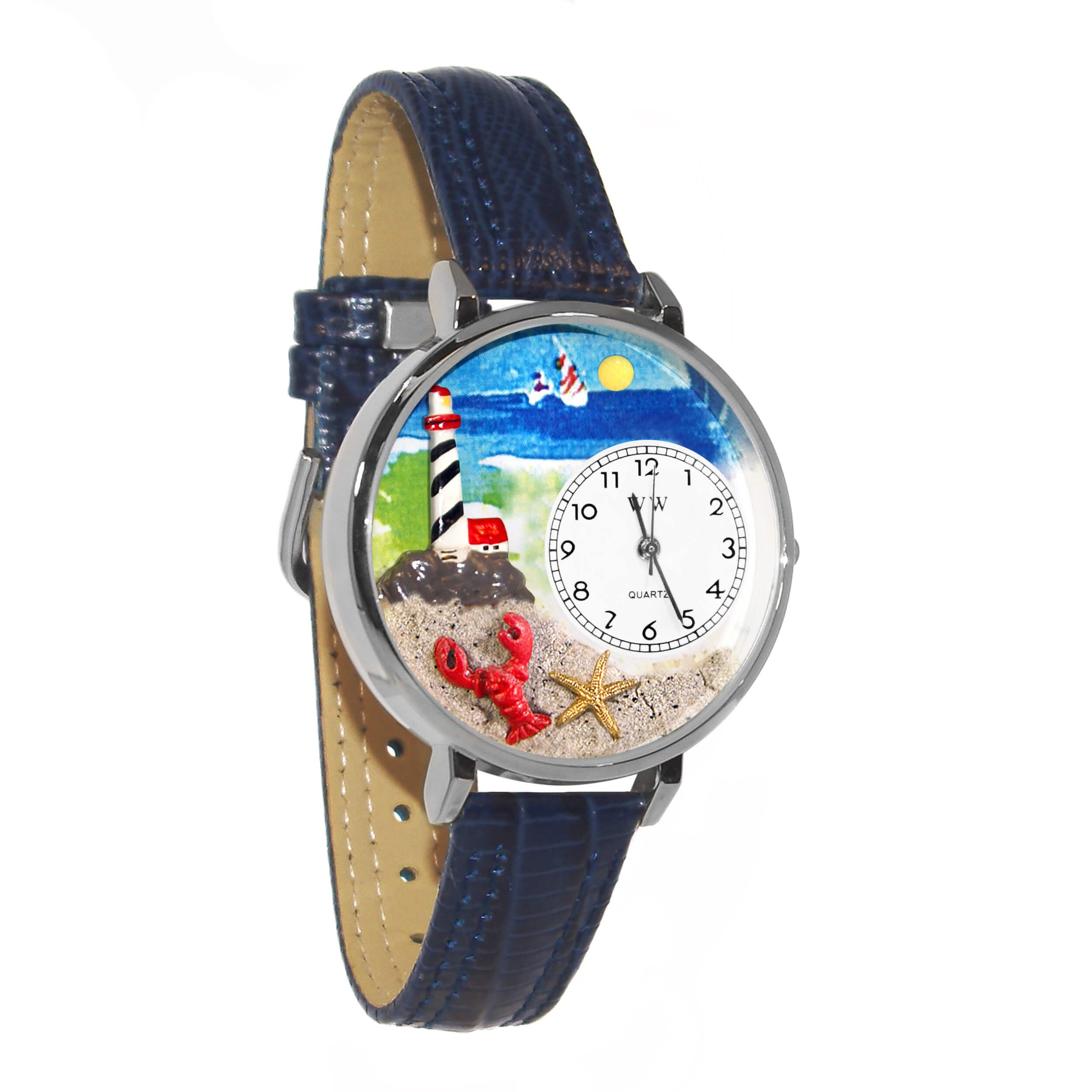 Whimsical Watches Unisex U1210013 Lighthouse Navy Blue Leather Watch