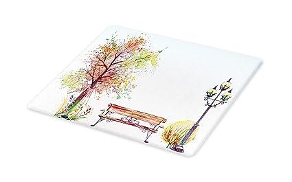 5df89a8422a44 Amazon.com: Lunarable Tree Cutting Board, Watercolors Fall Season ...