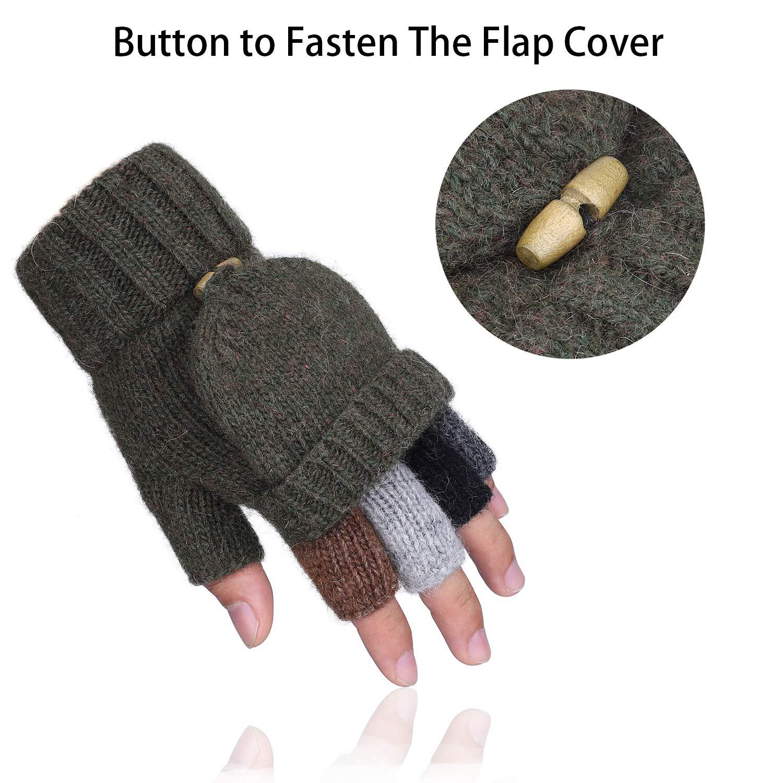 Winter Warm Wool Knit Convertible Fingerless Gloves with Mitten ...