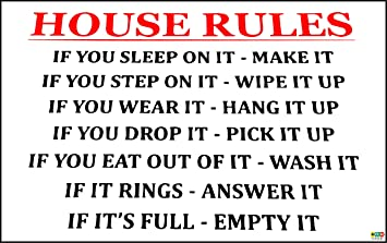Funny House Rules Sign If You Sleep On It Make It Mothers Day