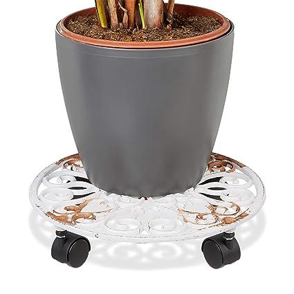 Relaxdays – Soporte redondo con ruedas para plantas hecho de hierro fundido resistente a la intemperie