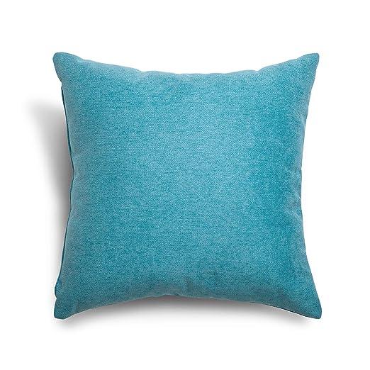 SuenosZzz- COJIN Relleno. Cojines Decoracion, Sofa,Cama, tapizado Acualine Antimanchas Azul Turquesa. Medidas: 48x48. Decoracion CASA.