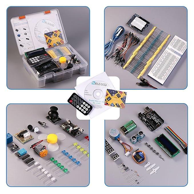 ELEGOO Conjunto Medio de Iniciación Compatible con Arduino IDE con Tutorial en Español y Conjunto de Relé de 5V, Modulo de Fuente de Alimentación, ...