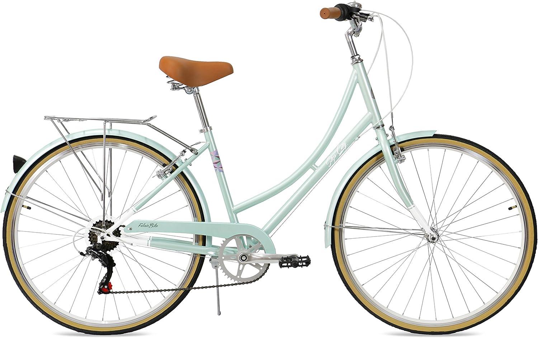 FabricBike Step City- Bicicleta de Paseo Mujer, Bicicleta Urbana Vintage Retro, Bicicleta de Ciudad Estilo Holandesa con Cambios Shimano y Cesta. ...