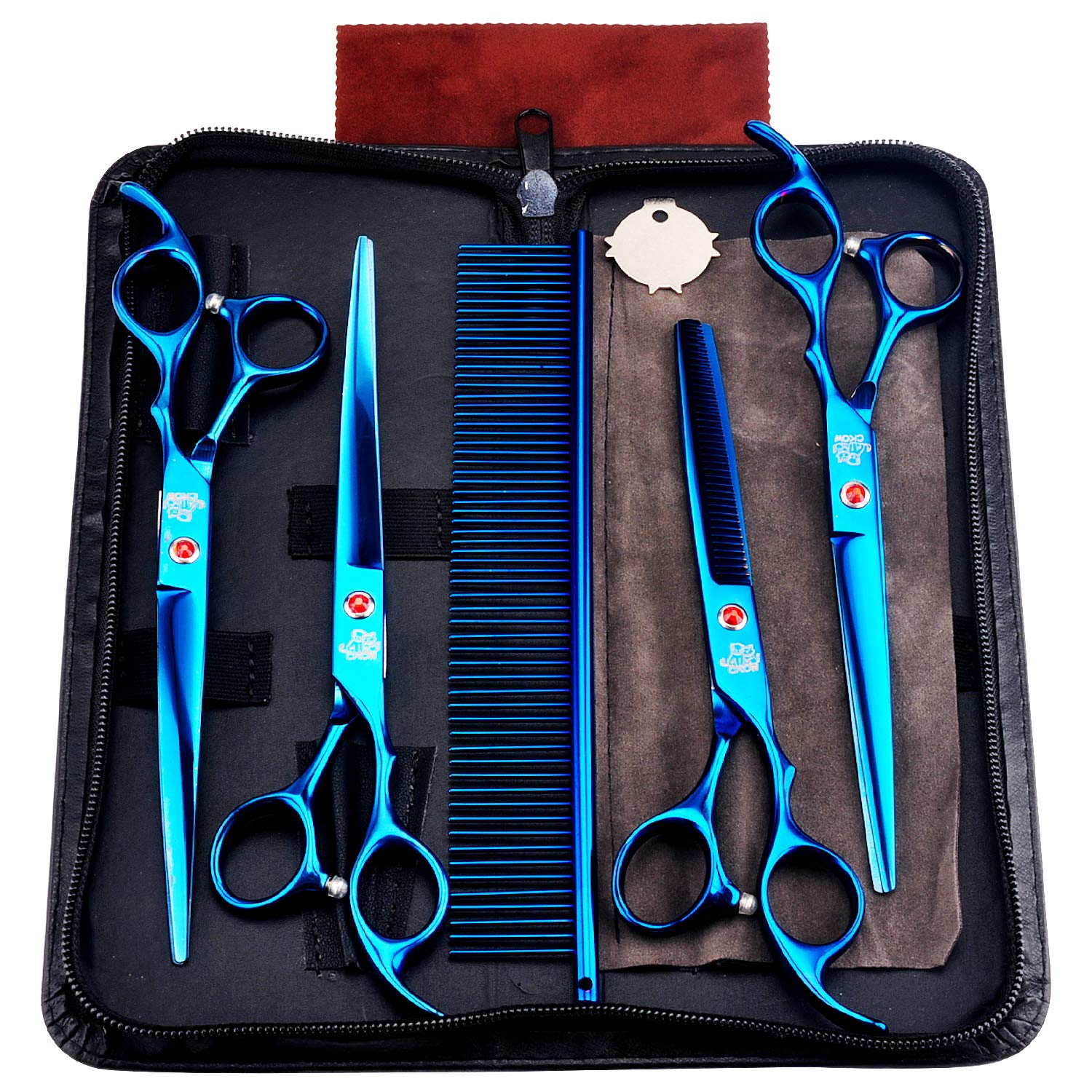 Professional Pet Grooming Scissors 7.0inch Stainless Steel Dog Grooming Scissors Kit for Dog Cat Grooming Shears Set by HKOW