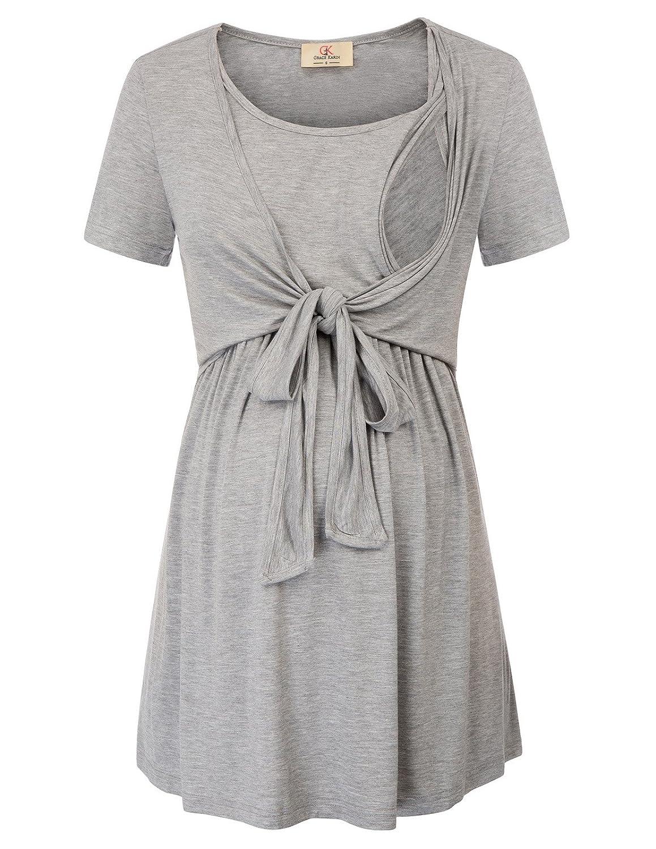 GRACE KARIN Womens Maternity Shirts Soft Tie Front/Back Nursing Tops