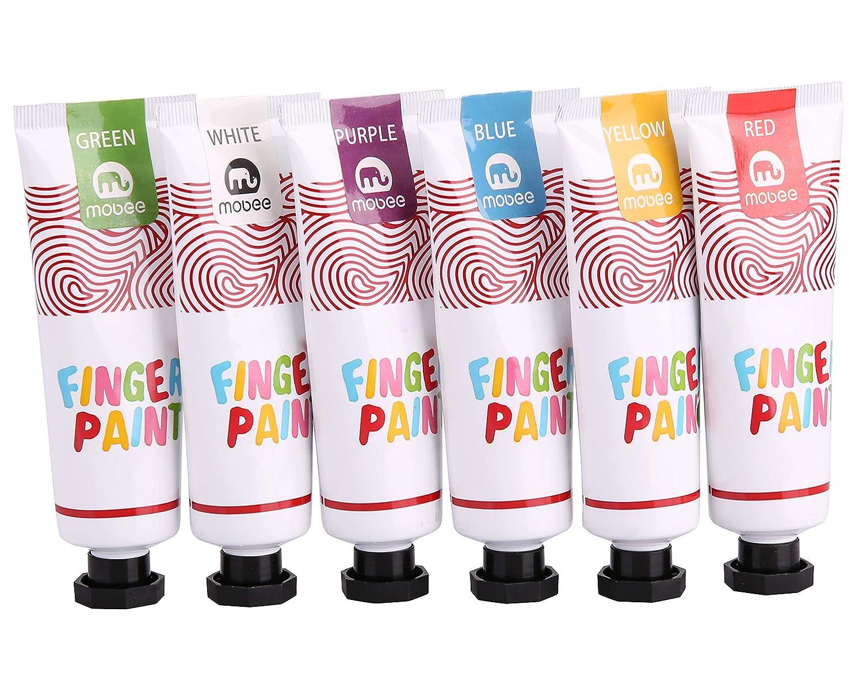 Mobee Finger Paints Kids, no tóxico, pintura de dedos lavable para niños de 3 a 8 años, juego de Pinturas con dedos para niños, 12 colores, 12 Almohadillas ...