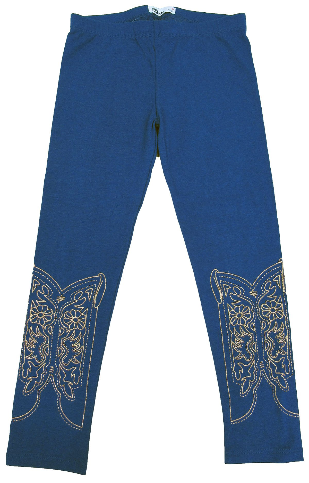 Epic Threads Little Girls' (4-6X) Western Boot Leggings Blue 6