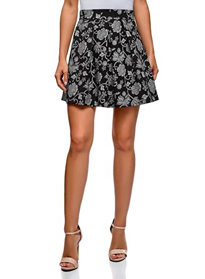 oodji Ultra Mujer Falda Estampada con Pliegues, Negro, ES 44 / XL ...
