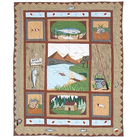Amazon.com: Patch Magic Twin Gone Fishing Quilt, 65-Inch by 85 ... : fishing quilt - Adamdwight.com