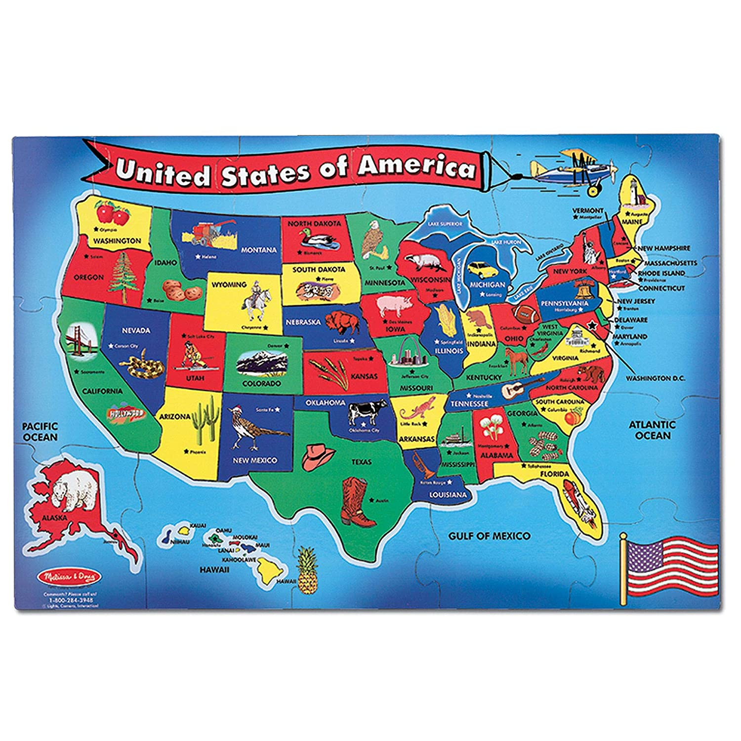 Amazon Com Melissa Doug Usa United States Map Floor Puzzle