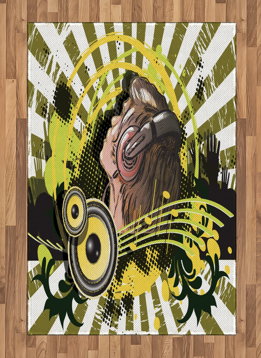 Music Area Rug by Lunarable, Abstract Illustration of a DJ Disco Headphone Dance Theme Striped Background Print, Flat Woven Accent Rug for Living Room Bedroom Dining Room, 4 x 6 FT, Green Brown