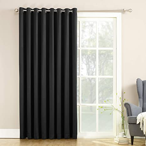 Amazon Com Sun Zero Barrow Extra Wide Energy Efficient Sliding Patio Door Curtain Panel With Pull Wand 100 X 84 Black Home Kitchen
