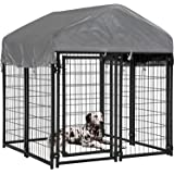 BMS Dog Pen Dog Fence Dog House Playpen Outdoor Camping Large Heavy Duty Dog Crate Kennel Cage with Reversibel Cover,4 x…