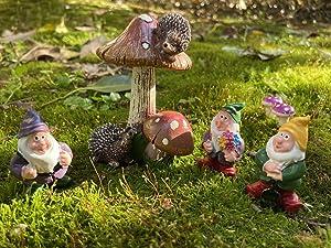Ufriandz Fairy Garden Gnomes Figurines Miniatures Kit with Mushrooms Hedgehogs Indoor Outdoor Statue Gardening Decor Accessories DIY Terrarium Great Gift (Set of 4 Pcs)