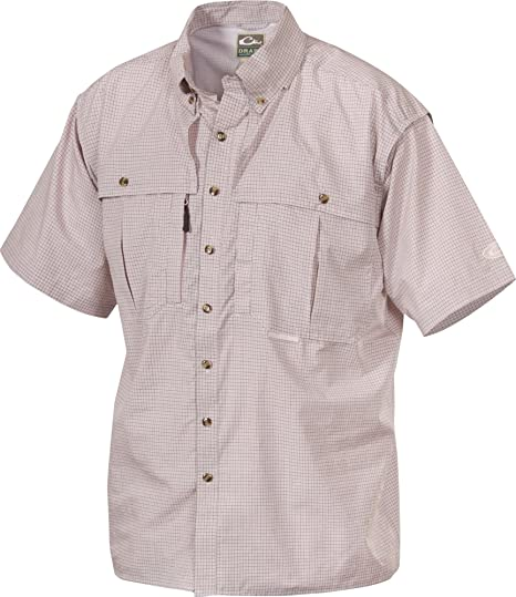 Drake Mens Wingshooter Micro Plaid Short Sleeve Shirt