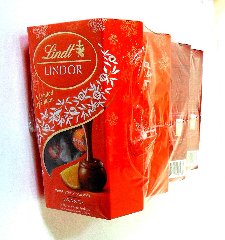 Lindt LINDOR Milk & Orange Chocolates Truffles(4 pack of 200g) by Lindt