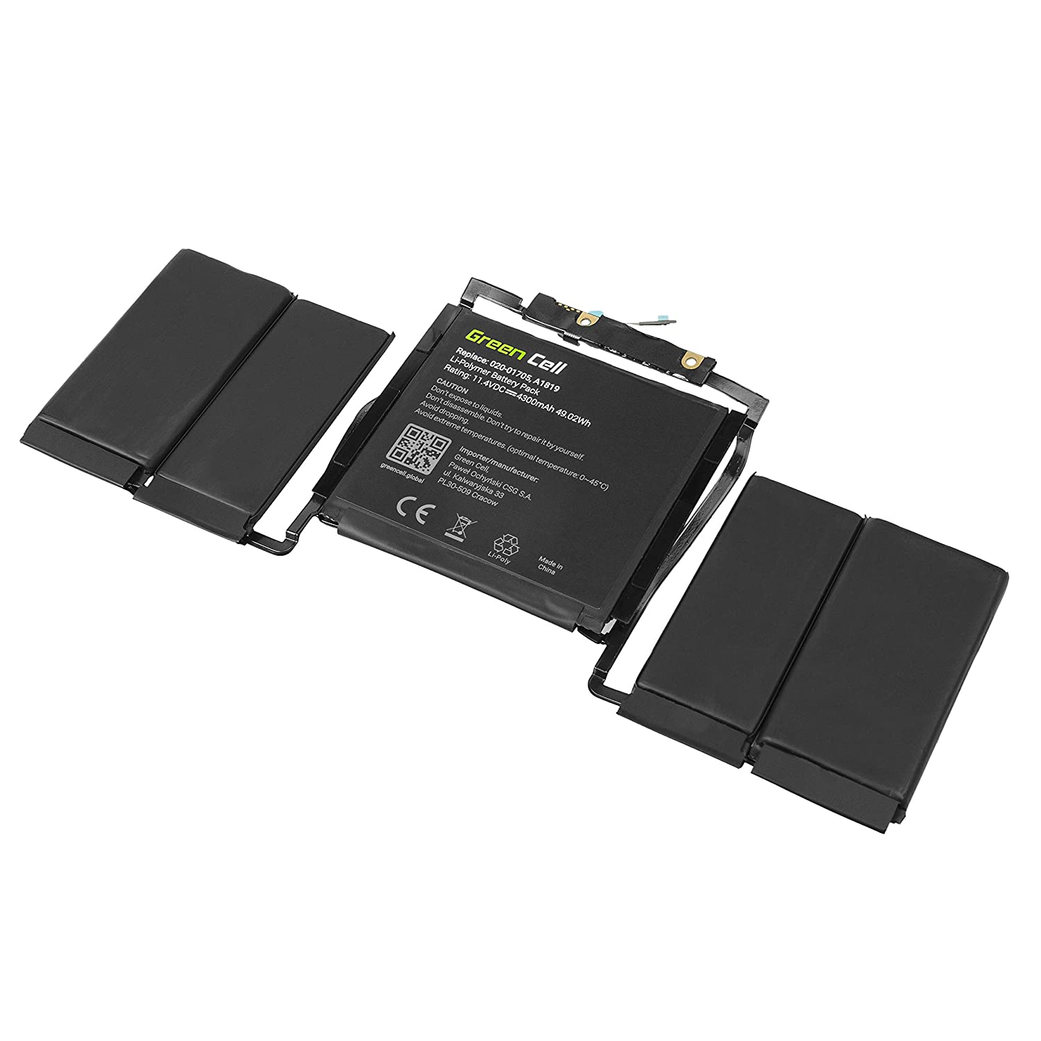 49.0Wh 11.4V Green Cell/® A1819 Laptop Battery for Apple MacBook Pro 13 A1706 Touch Bar Late 2016, Mid 2017
