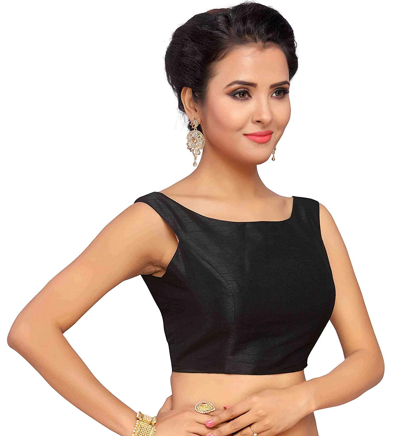 835b327faf0d9f STUDIO SHRINGAAR WOMEN'S POLY RAW SILK OFF SHOULDER STITCHED SAREE BLOUSE:  Amazon.in: Clothing & Accessories