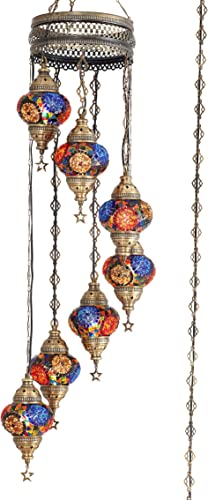 10 Colors 7 Globes Swag Plug in Turkish Moroccan Mosaic Bohemian Tiffany Ceiling Hanging Pendant Light Lamp Chandelier Lighting with 15feet Cord Chain US Plug, 50 Height TopMix