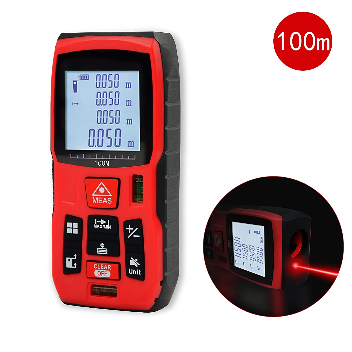 Qyuhe® Laser Measure Distance Meter 80M/262.5ft Measuring Device Tool with Backlit Display